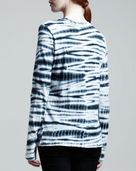 Long Sleeve Tie-Dye T-Shirt, Black/White