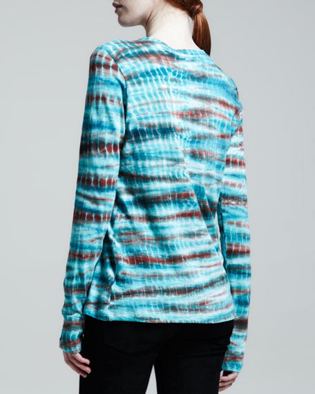 Long Sleeve Tie-Dye T-Shirt, Emerald/Rust