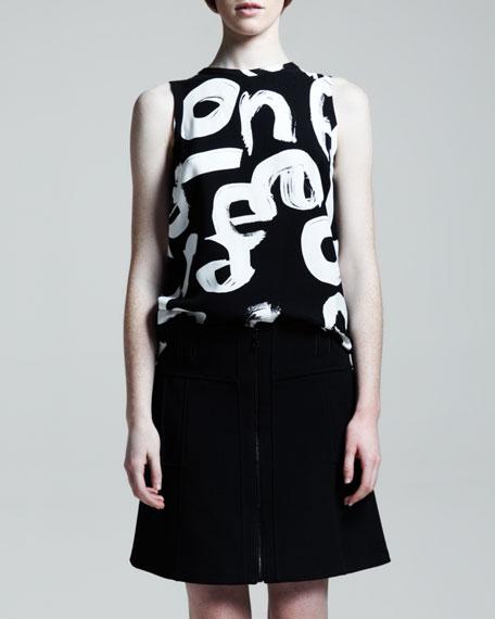 Zip-Front A-Line Skirt