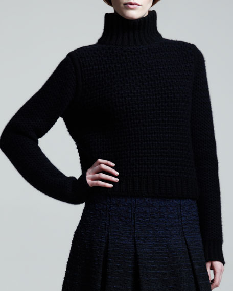 Chunky Two-Tone Cashmere Turtleneck