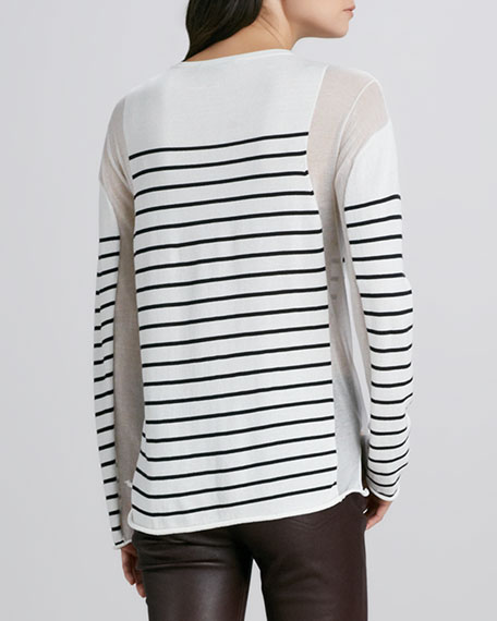 Striped Sheer-Panel Pullover