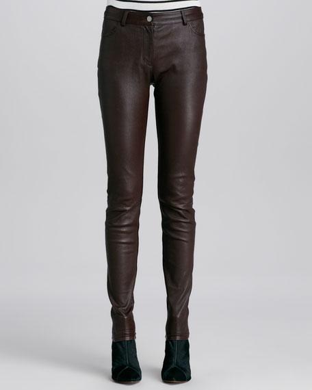 Stretch Leather Skinny Jeans
