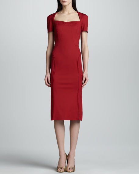 Short-Sleeve Twill Dress, Cherry