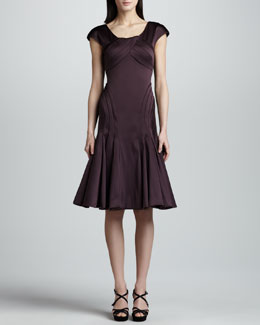 Zac Posen Cap-Sleeve Satin Dress, Deep Purple