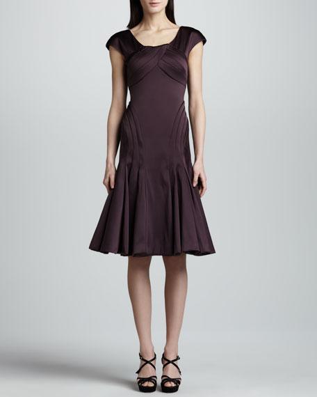 Cap-Sleeve Satin Dress, Deep Purple