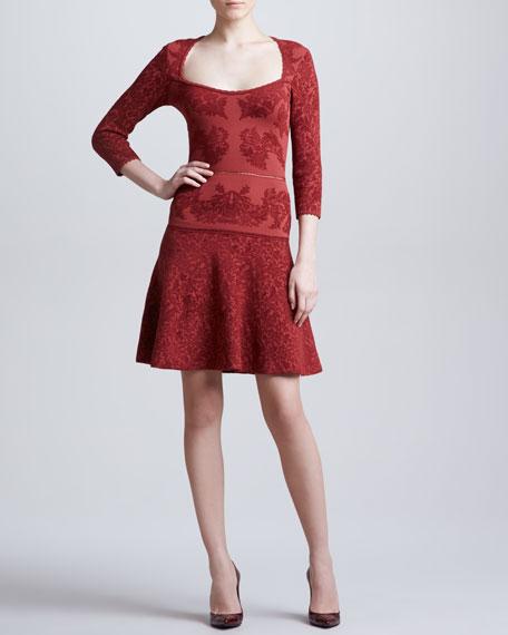 Three-Quarter Sleeve Jacquard Dress, Red/Rust