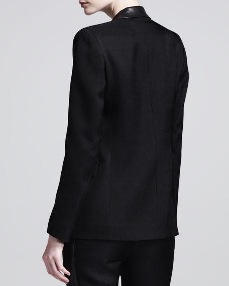 Leather-Collar Open Blazer