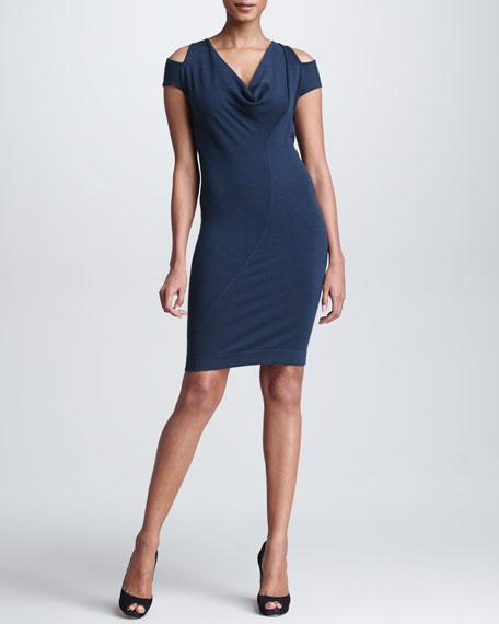 Draped Cashmere Cold-Shoulder Dress, Slate Blue