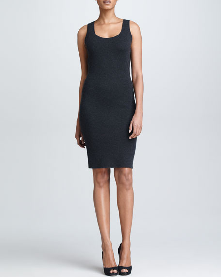 Fitted Knit Tank Dress, Charcoal