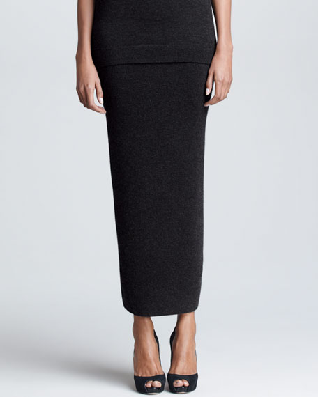 Fitted Cashmere Maxi Skirt, Charcoal