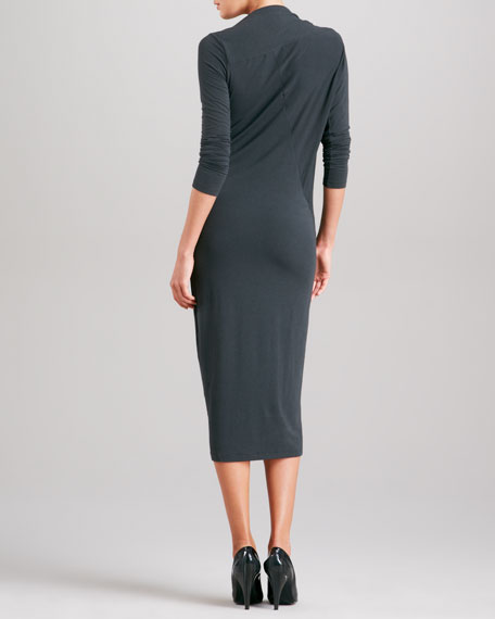 Long-Sleeve Asymmetric-Drape Dress, Asphalt