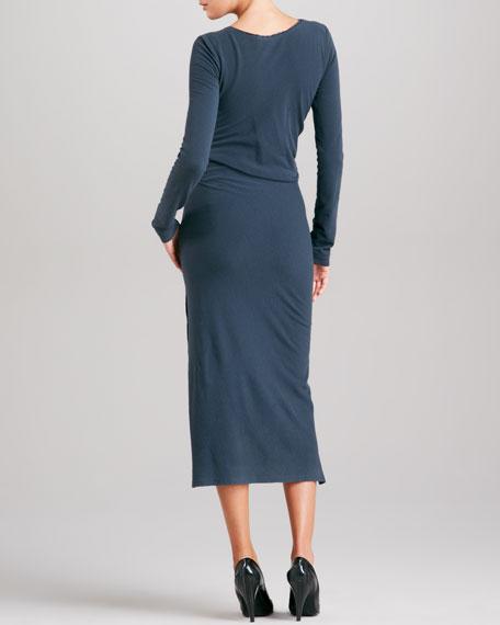 Knotted Drape Jersey Dress, Slate Blue