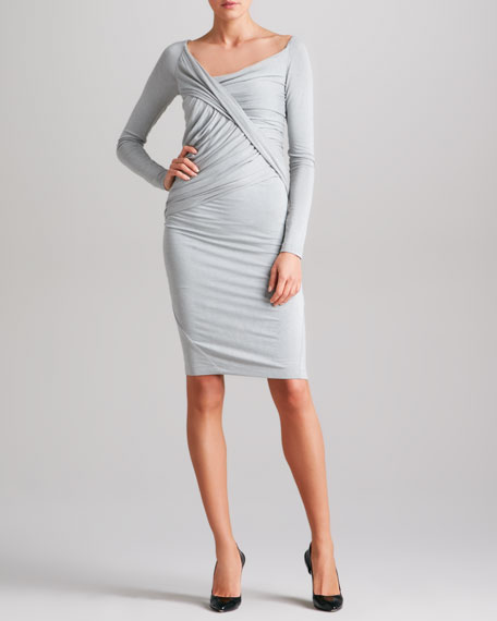 Draped Long-Sleeve Jersey Dress, Cement