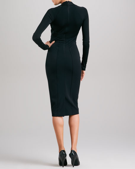 Seamed Plunging Jersey Dress, Black