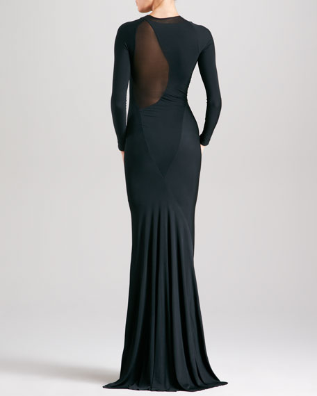 Sheer-Inset Long-Sleeve Evening Gown, Black