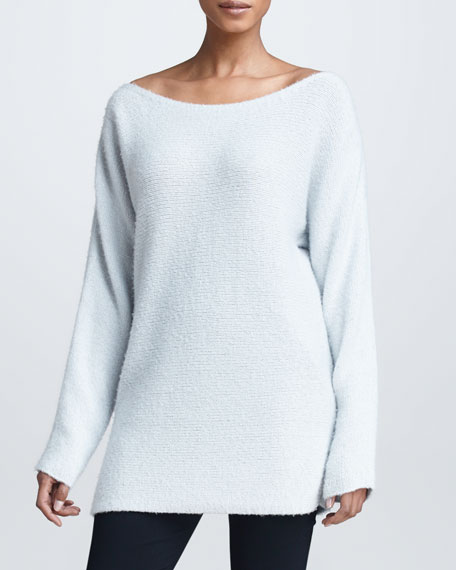 Wide-Neck Cashmere Silk Sweater, Ash