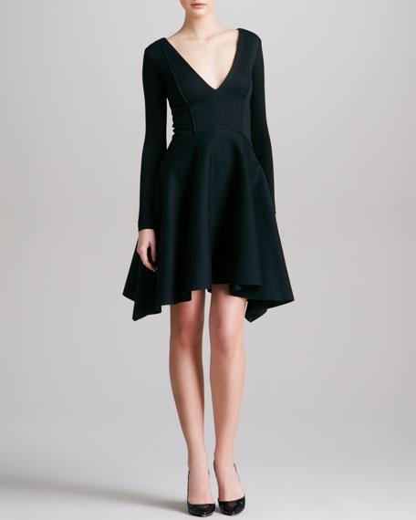 Seamed Plunging Long-Sleeve Dress, Black