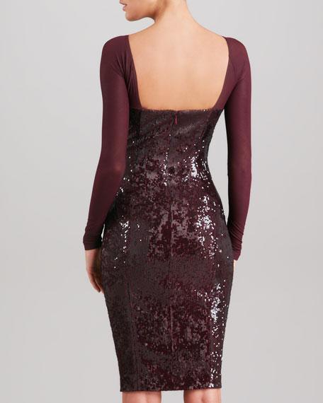 Sheer-Yoke Long Sleeve Sequin Dress, Claret