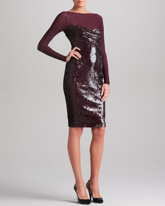 Sheer-Yoke Long Sleeve Sequin Dress, Claret