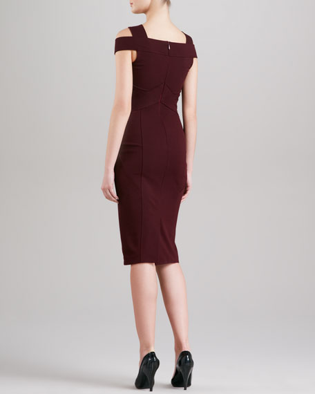 Off-the-Shoulder Dress, Claret