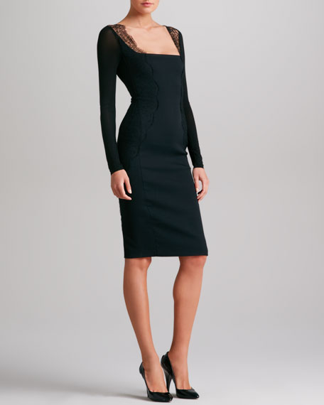 Lace-Trimmed Body Conscious Dress, Black
