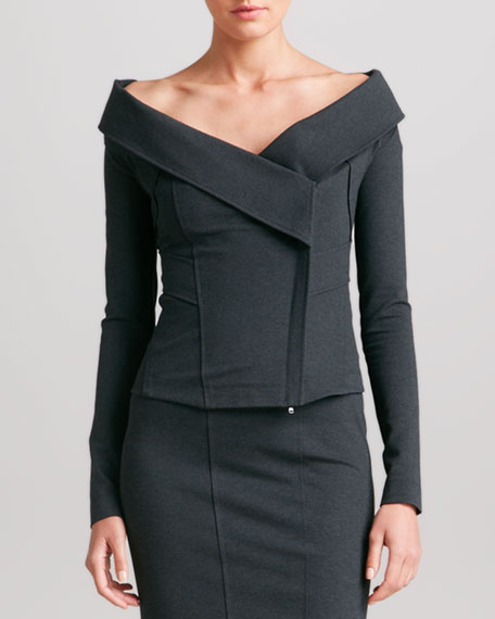 Off-the-Shoulder Jacket, Charcoal