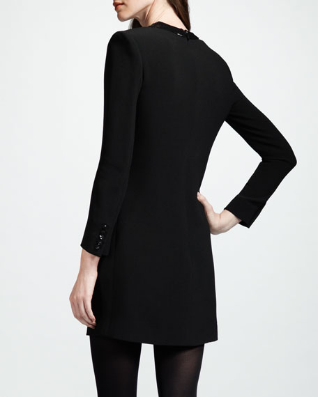 Leather-Keyhole Dress, Noir