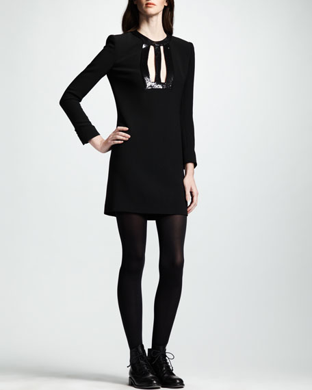 Leather-Keyhole Dress, Noir