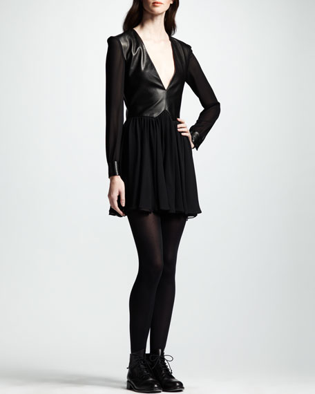 Leather & Chiffon Combo Dress, Black