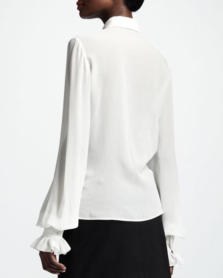 Collared Silk Blouse, White