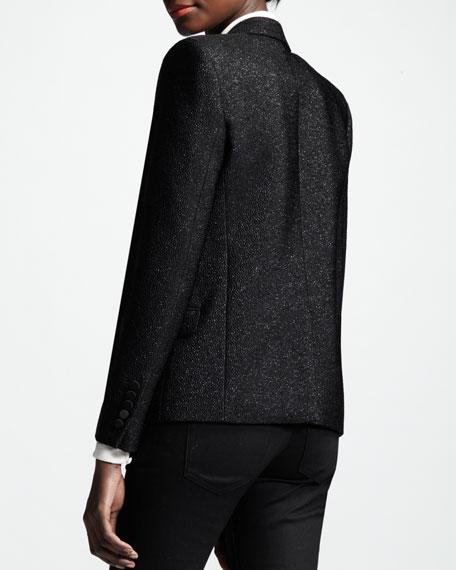 Metallic One-Button Blazer, Noir