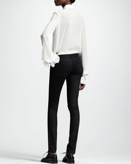 Skinny Low-Waist Jeans, Black
