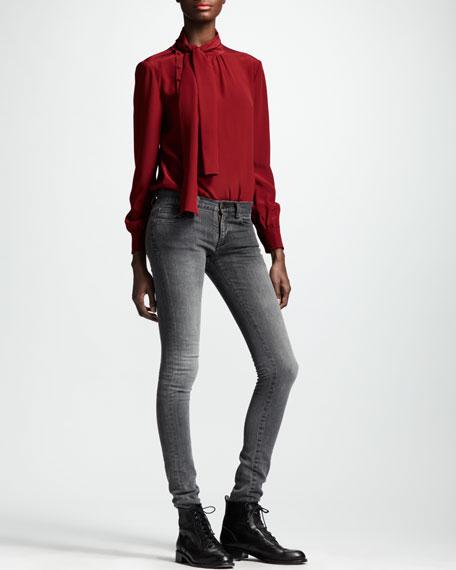 Skinny Low-Waist Jeans, Bleached Black