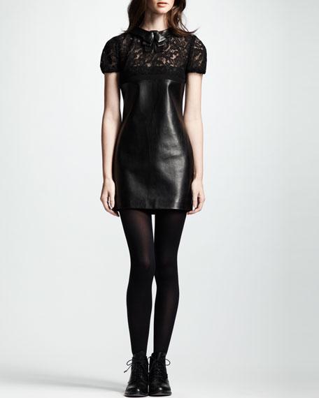 Short-Sleeve Lace & Leather Dress