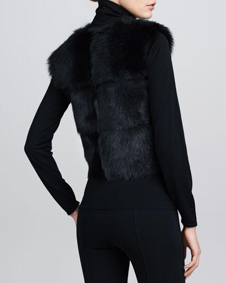 Cropped Shearling Vest, Black