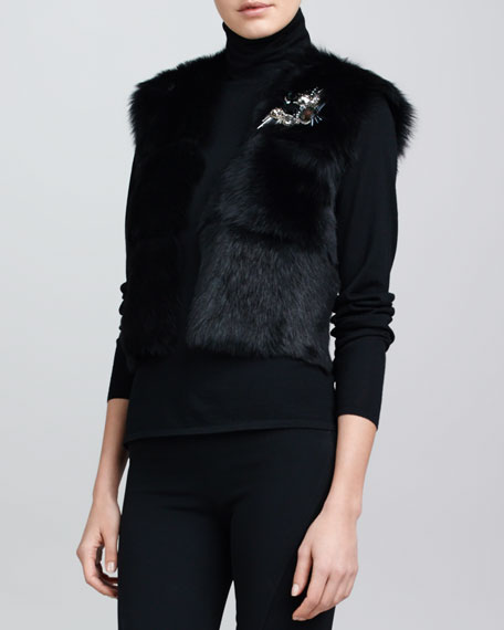 Cropped Shearling Vest, Black