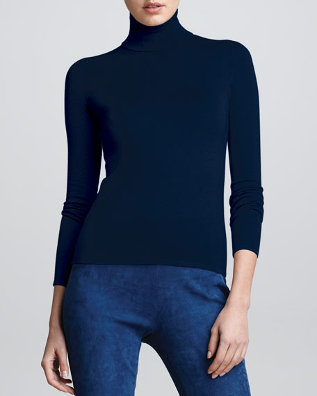 Cashmere Long-Sleeve Turtleneck, Denim Blue