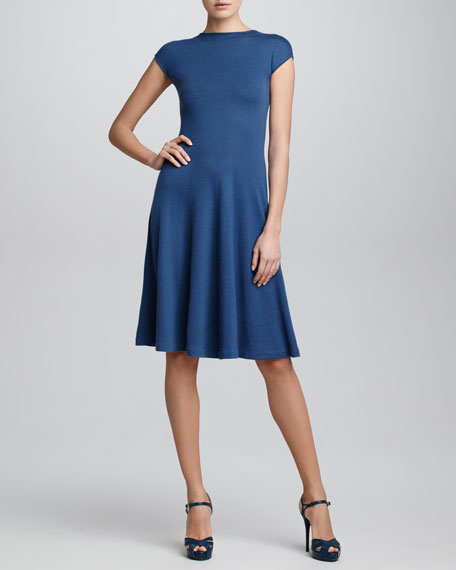 Cashmere Cap-Sleeve Dress, Denim Blue