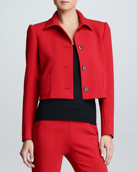 Cropped Wool Jacket, Rouge