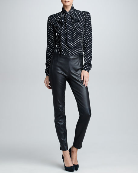 Slim Leather Pants, Black