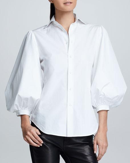 Aston Puff-Sleeve Cotton Poplin Blouse, White