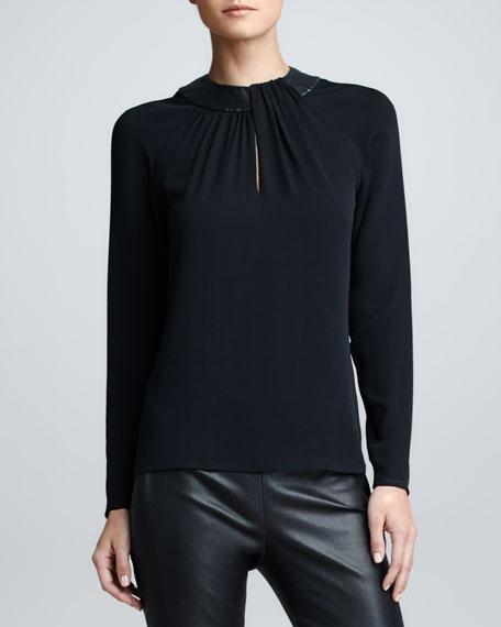 Leather-Collared Silk Top, Black