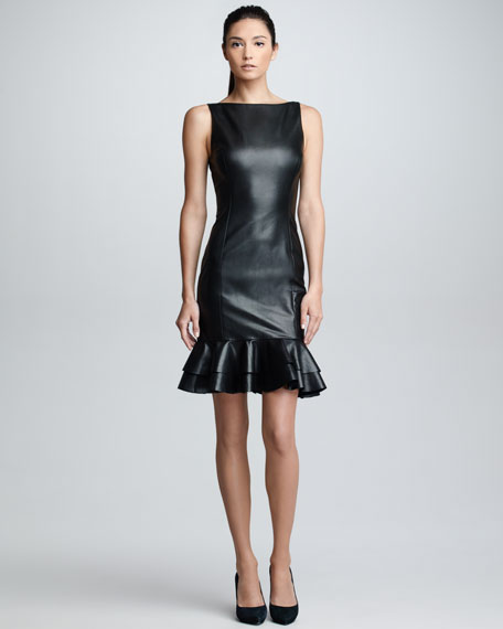 Ruffled Leather Dress, Black