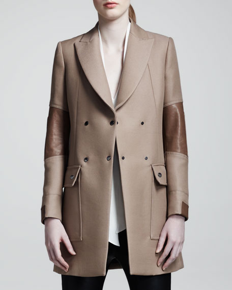 Andover Leather-Panel Coat