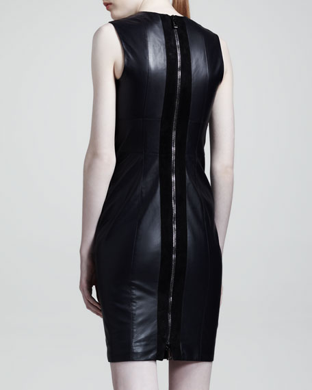 Camborne Leather Sheath Dress