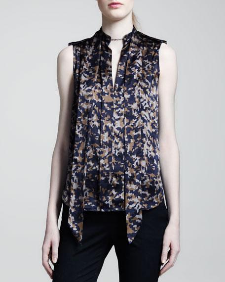 Harlow Camo-Print Silk Blouse