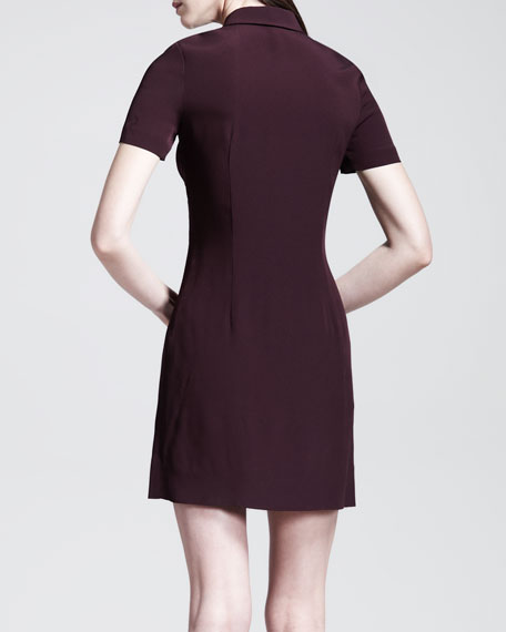 Satin-Panel Polo Dress