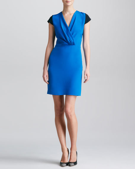 Colorblock Surplice Dress