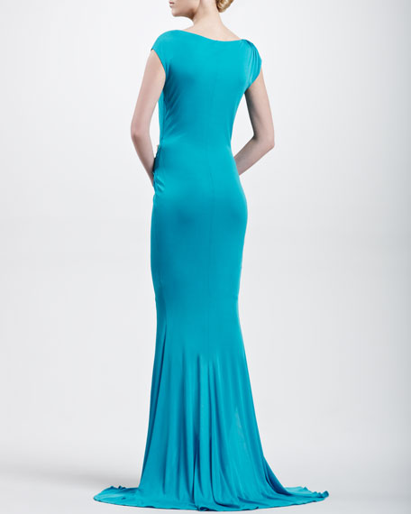 Cap-Sleeve Asymmetric Ruched Jersey Gown, Turquoise