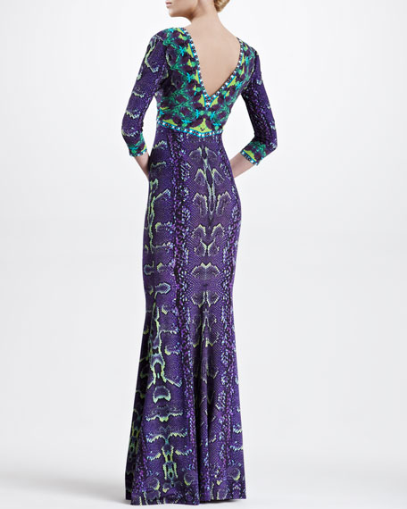 Three-Quarter-Sleeve Snake-Print Gown, Violet